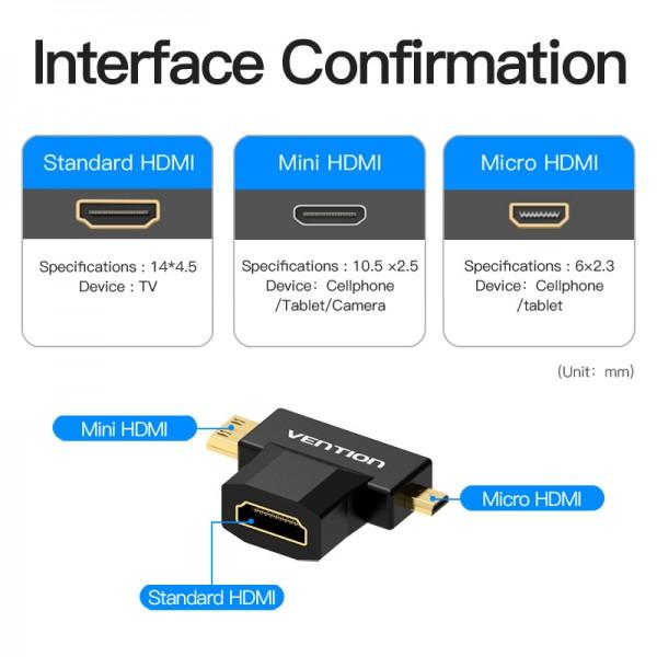 VENTION AGDB0 Mini HDMI+Micro HDMI to HDMI Female Adapter Black